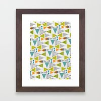 Geometric Mid Century Modern  Triangles Framed Art Print