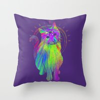 Psychedelic Psychic Cat Throw Pillow