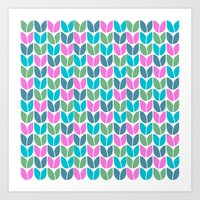 Tulip Knit (Teal Pink Blue Green) Art Print