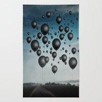 In Limbo - black balloons Rug