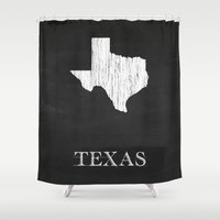 Texas State Map Chalk Dr… Shower Curtain
