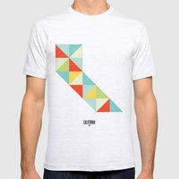 Geometric California Mens Fitted Tee Ash Grey SMALL