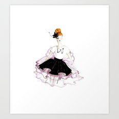 Rose, Noir & Blanc Art Print