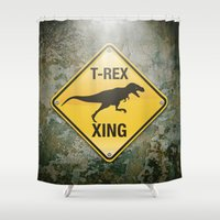 T-Rex Crossing Shower Curtain