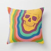 Trippy Rainbow Skull Throw Pillow