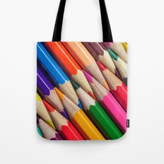 sharpen color pencils crayons background object texture pattern Tote Bag