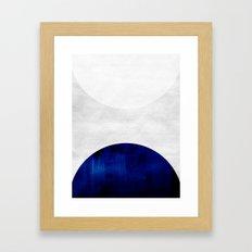 White & Cobalt Framed Art Print