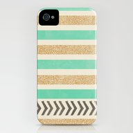 MINT AND GOLD STRIPES AN… iPhone (4, 4s) Slim Case