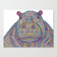 Hippie-Potamus (Multicolour) Canvas Print