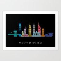 New York Skyline Black Art Print