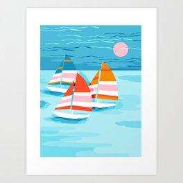 Art Print - Popin - memphis sports retro throwback neon sailing sailboat cool rad gnarly trendy watersports - Wacka