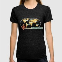 The World is a Book Womens Fitted Tee Tri-Black SMALL