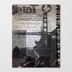 Golden Gate Bridge Text Collage Canvas Print