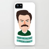 iPhone Cases featuring ron swanson / parks and recreation by Maya Bee Illustrations