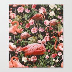 Floral And Flemingo Patt… Canvas Print