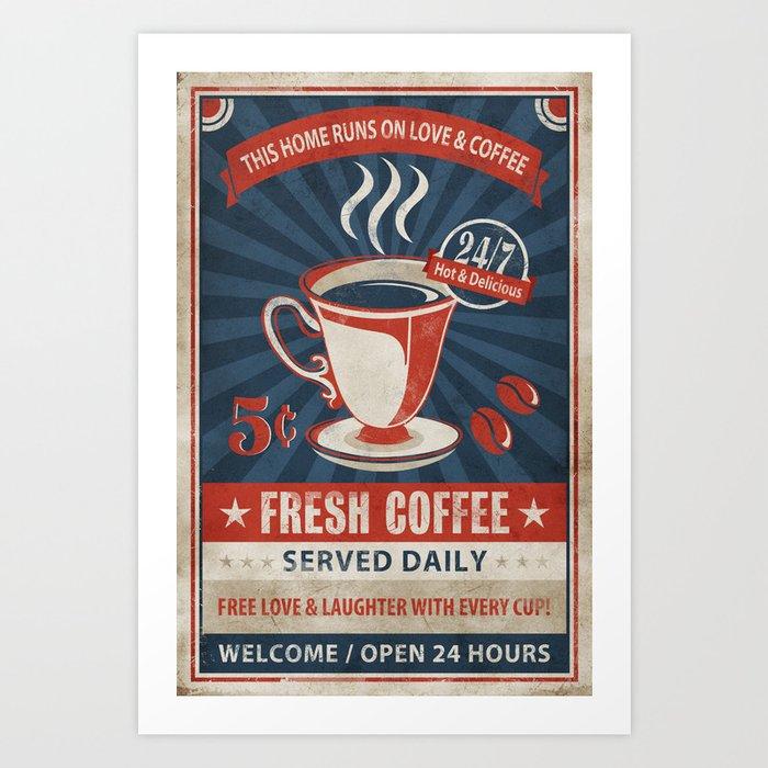 Sunday's Society6   Vintage retro coffee poster art print