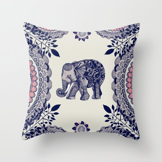 Pink Elephant Throw Pillow : Elephant Pink Throw Pillow by Rskinner1122 Society6