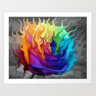 Colorful Flaming Flower Art Print