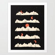 Moonrises...Moonsets... Art Print