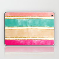 Modern Stripes Pink Red Watercolor Gold Glitter Laptop & iPad Skin