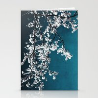 white blossoms Stationery Cards