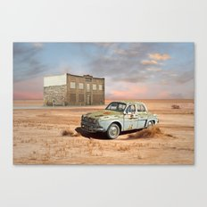 Old Car and Abandoned Hotel in Desert Canvas Print