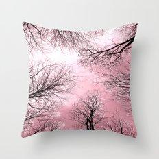 Black Trees Pink Sky Throw Pillow