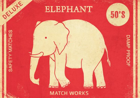 Elephant Safety Matches Art Print