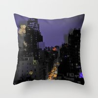 City Lights In NYC Throw Pillow