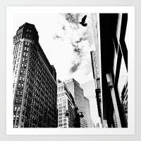Bird Flying Through Skyscrapers - New York City Art Print