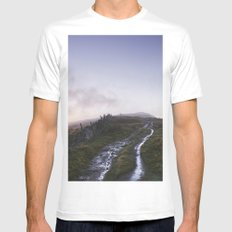 Mountain path and fence at sunset. Derbyshire, UK. White Mens Fitted Tee SMALL