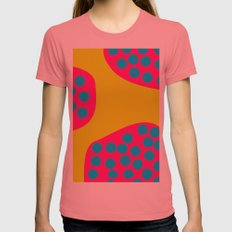 Green Purple Dots Womens Fitted Tee Pomegranate SMALL