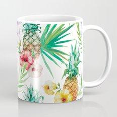 Tropical leaves flowers and pineapple Mug