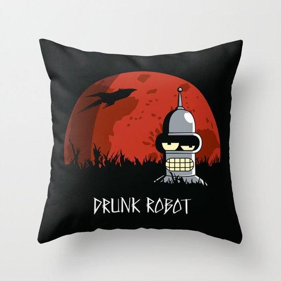 Drunk Robot Throw Pillow