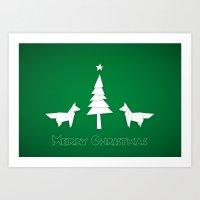 Christmas foxes Art Print