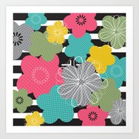 Stripes and Houndstooth Flora Art Print