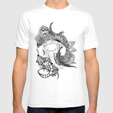 Inking Elephant White Mens Fitted Tee SMALL
