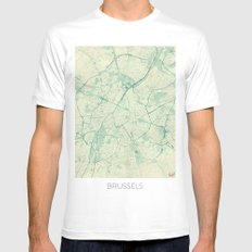 Brussels Map Blue Vintage Mens Fitted Tee White SMALL