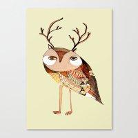 Owl Print, Owl Illustrat… Canvas Print