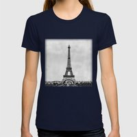 Eiffel Tower, Paris Fran… Womens Fitted Tee Navy SMALL