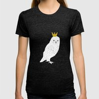 A king Owl,  Womens Fitted Tee Tri-Black SMALL