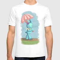 Walking On A Rainy Day Mens Fitted Tee White SMALL