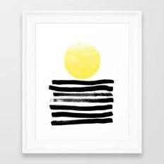 Soleil - sunset sunrise abstract painting art decor dorm college art painting brushstrokes india ink Framed Art Print