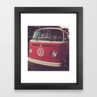 Volkswagen Bus Red & Whi… Framed Art Print