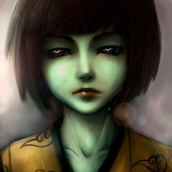 Green skin girl Art Print