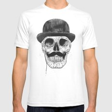 Gentlemen never die SMALL Mens Fitted Tee White