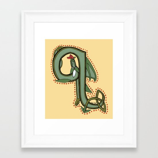 Celtic Dragon Letter Q Framed Art Print