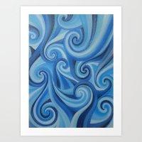 Parting Waves Abstract O… Art Print