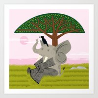 The Elephant And The Eag… Art Print