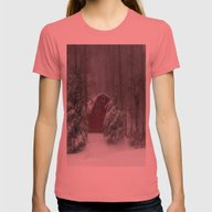 Red Barn In The Snow Womens Fitted Tee Pomegranate SMALL